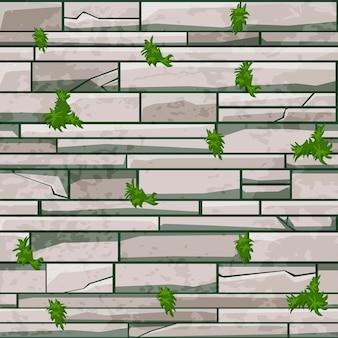 Parede de tijolo de pedra de textura perfeita, padrão cinza com grama para o projeto.