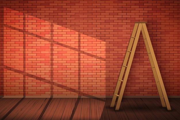 Parede de tijolo vermelho com escada de madeira e luz solar.