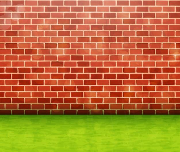 Parede de tijolo vermelho com fundo de vetor de grama verde