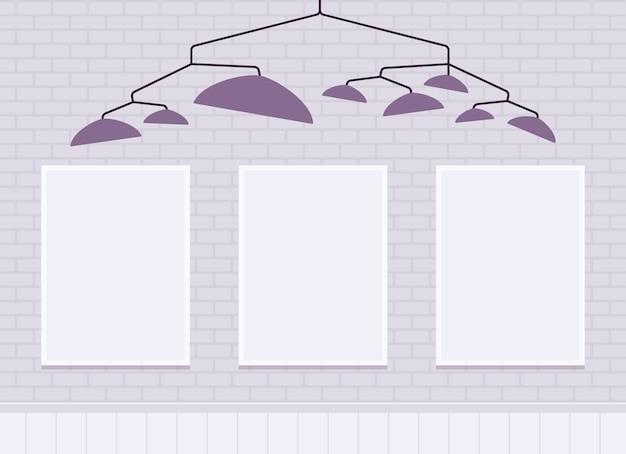 Parede de tijolos brancos com molduras para espaço de cópia