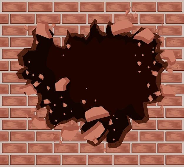 Parede de tijolos com buraco explosivo