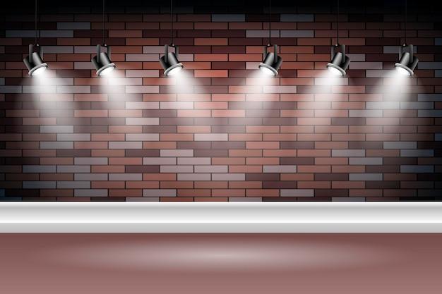 Parede de tijolos com fundo de luzes do ponto