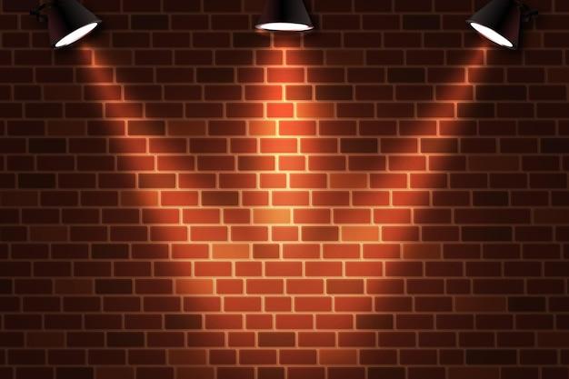 Parede de tijolos com fundo de luzes pontuais