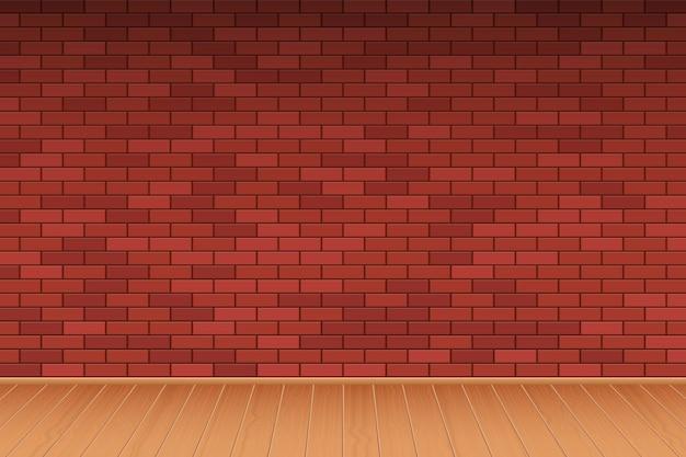Parede de tijolos e piso de madeira fundo vector design ilustração