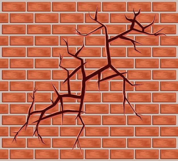 Parede de tijolos quebrados