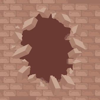 Parede de tijolos rachada ou destruída
