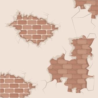 Parede de tijolos rachada