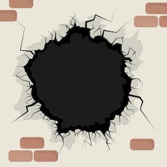 Parede do buraco e tijolos