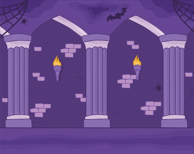Parede do castelo com fundo de pilares e tochas