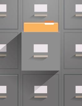 Parede do gabinete de arquivamento com cartão aberto, catálogo de documentos, arquivamento de dados, pastas de armazenamento para arquivos, ilustração vetorial vertical de conceito de administração de negócios