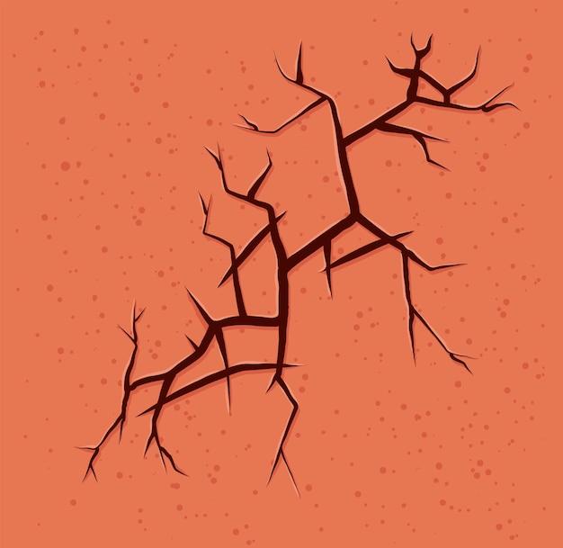 Parede laranja rachada