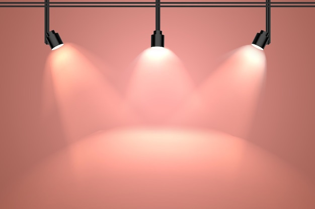 Parede peachy com fundo de luzes do ponto
