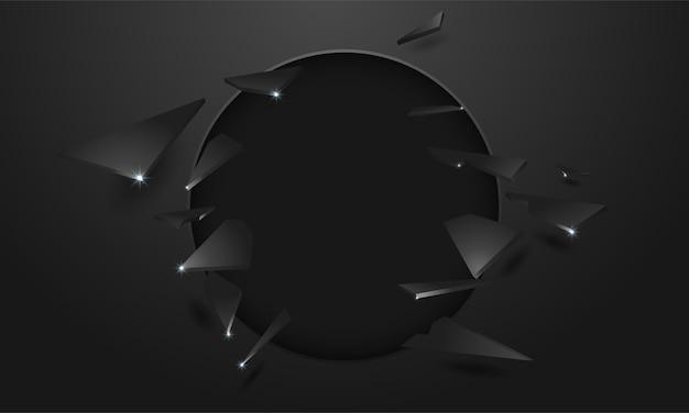 Parede quebrada com um buraco negro e rachaduras