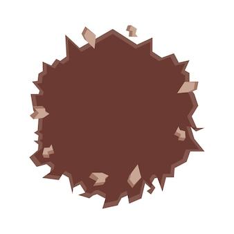 Parede rachada em ícone de círculo