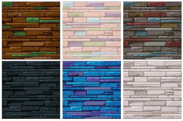 Parede velha de tijolo de pedra padrão sem emenda, planos de fundo multicoloridos para papel de parede. ilustração vetorial definir texturas vintage sujas coloridas para design de jogos.