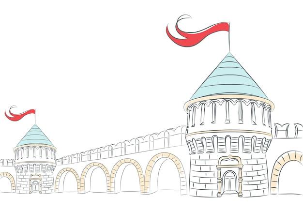 Paredes e torres de um castelo medieval