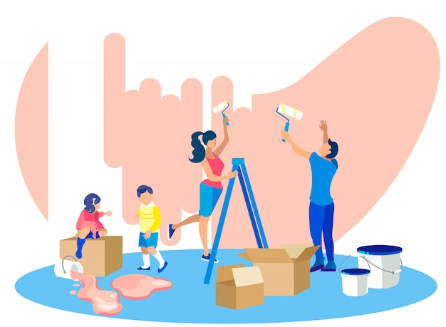 Paredes felizes da pintura da família na casa nova. movendo-se