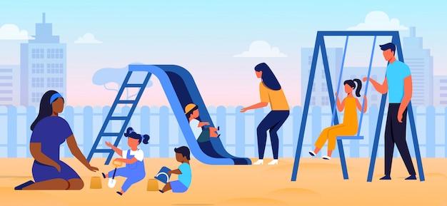 Parental care, parenthood flat vector illustration