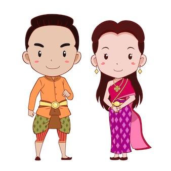 Pares bonitos de personagens de banda desenhada no traje tradicional tailandês.