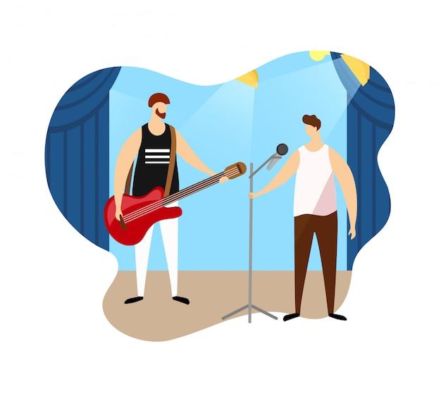 Pares de artistas masculinos que dão o concerto da música rock.
