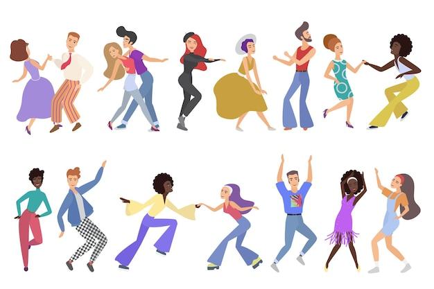 Pares de dançarinos felizes vintage isolados, realizando competição de dança, clube, estúdio de escola de dança