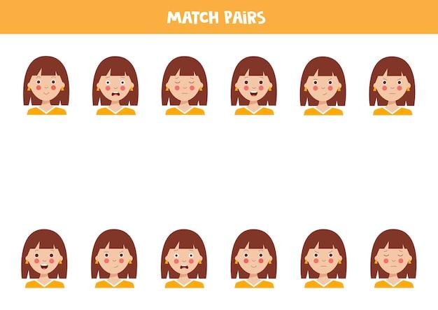 Pares de fotos correspondentes. rostos de garotas bonitas com emoções jogo lógico para crianças