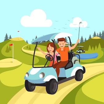 Pares de homem novo e de mulher que conduzem o carrinho de golfe.
