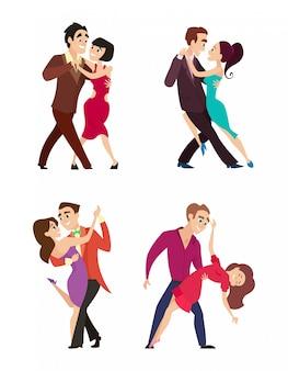 Pares engraçados que dançam a dança latin e foxtrot.
