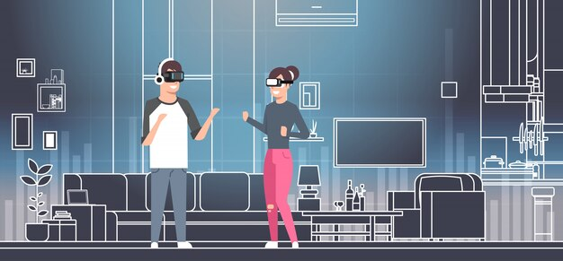 Pares que vestem os vidros 3d no conceito interior da tecnologia da realidade virtual da sala do vr