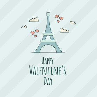 Paris eiffel cartão feliz do dia dos namorados