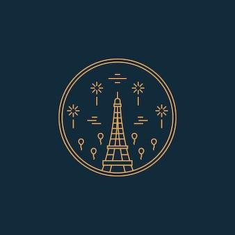 Paris frança eifel tower monoline line art badge
