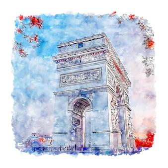 Paris frança esboço em aquarela desenhado à mão