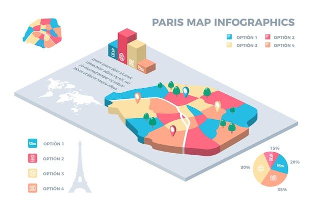 Paris mapa infográficos estilo isométrico