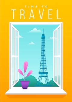 Paris, viajando, cartaz, desenho, ilustrado