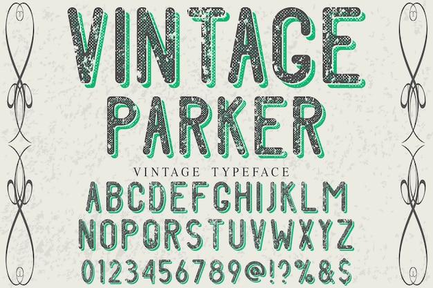 Parker do projeto do alfabeto vintage