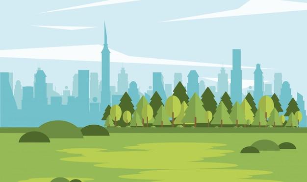 Parkscape com cidade de forma