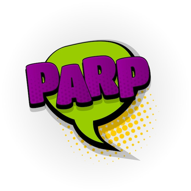 Parp arroto som efeitos de texto de quadrinhos modelo quadrinhos balão de fala meio-tom estilo pop art