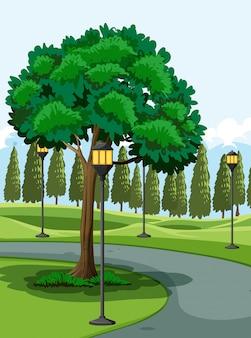 Parque ao ar livre ilustrado cena