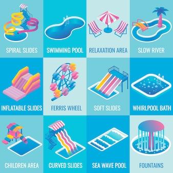 Parque aquático atrações plana isométrica conjunto de ícones