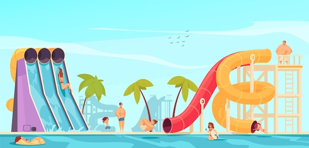 Parque aquático com atrações e pessoas