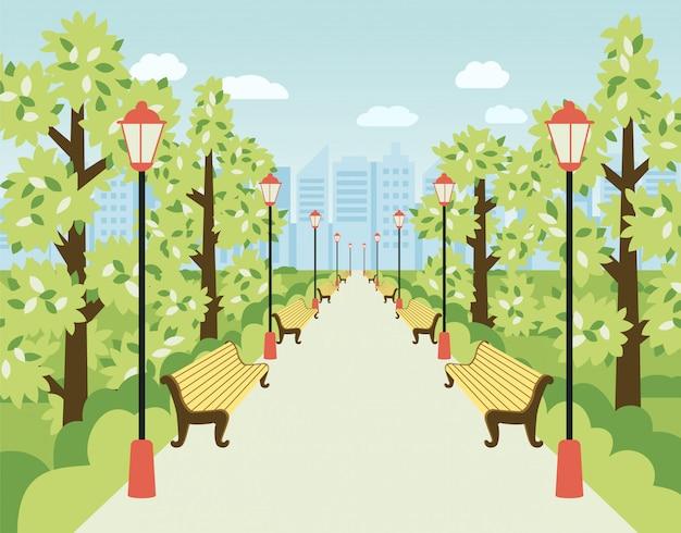 Parque, beco com lanternas, bancos e árvores verdes.