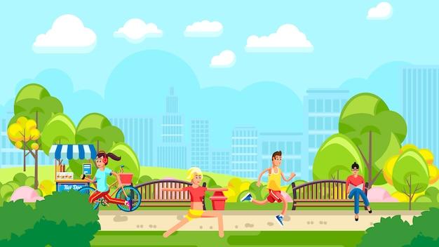 Parque colorido com pessoas treinando