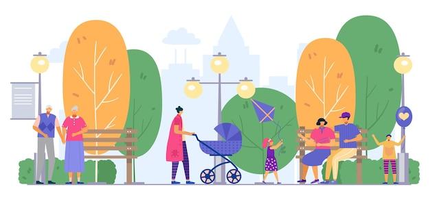 Parque com família, pessoas ao ar livre, ilustração vetorial. personagem de mulher plana homem andar na paisagem de natureza de verão, mãe com carrinho.