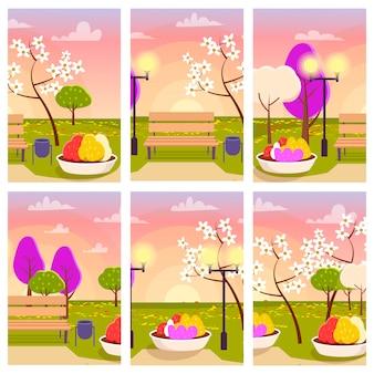Parque com flores no pôr do sol conjunto de ilustração