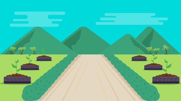 Parque com ilustração em vetor fundo montanhas