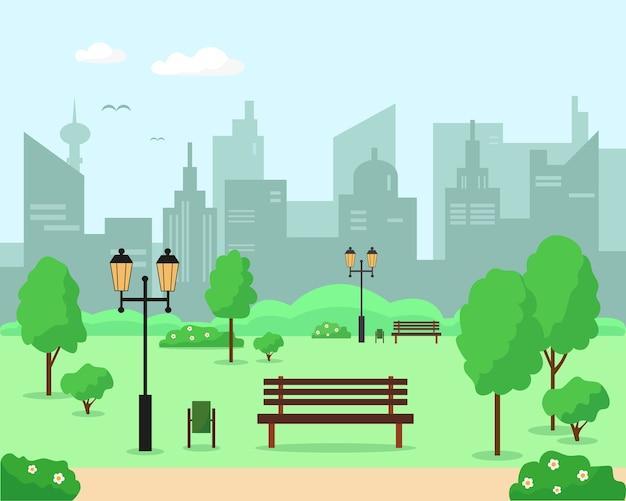 Parque da cidade com árvores, bancos e lanternas. ilustração de fundo de paisagem de primavera ou verão.