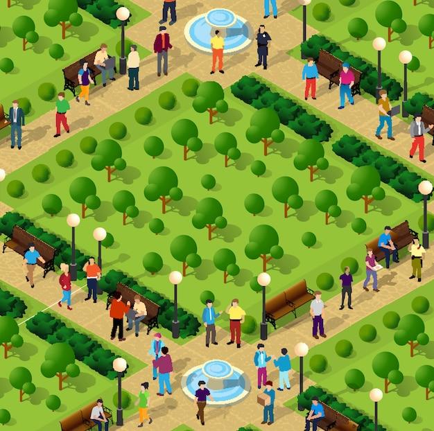 Parque da cidade com as pessoas
