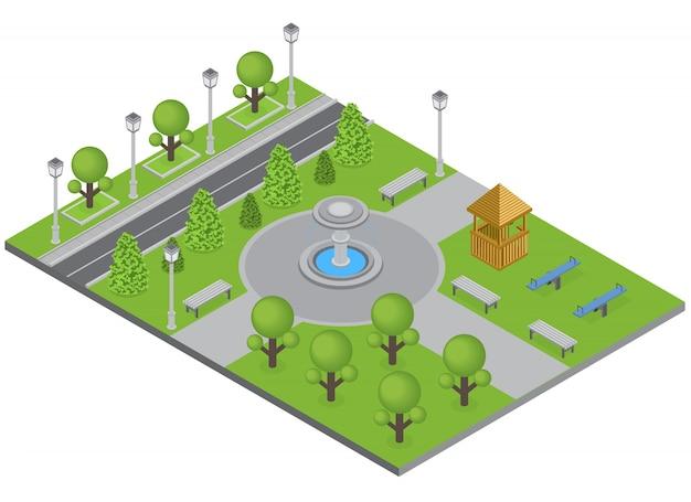 Parque da cidade com fonte de árvores e campo de esportes isométrico