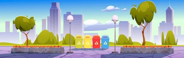 Parque da cidade com lixeiras para coleta seletiva, separação de lixo e proteção ao meio ambiente