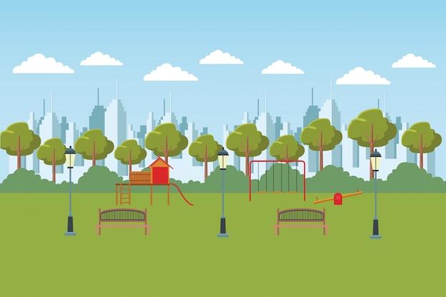 Parque da cidade com parque infantil de madeira